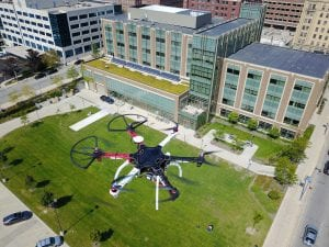 drone flying over Marquette campus